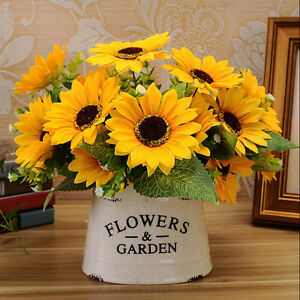 1-Bouquet-7-Heads-Fake-Sunflower-Artificial-Silk-Flower-Home-Room-Floral-FOUK