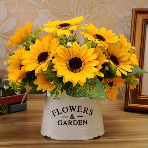 7 têtes Chic Faux Tournesol Soie artificielle Bouquet de Fleurs Maison Floral Décor MW