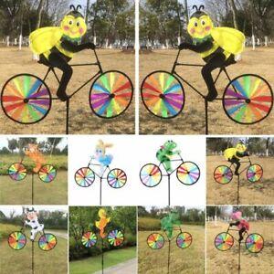 3D-Animal-on-Bike-Windmill-Wind-Spinner-Whirligig-Garden-Lawn-Yard-3D-Decor