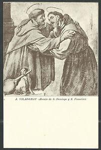 Postal-antigua-de-Santo-Domingo-y-San-Francisco-andachtsbild-santino-holy-card-s