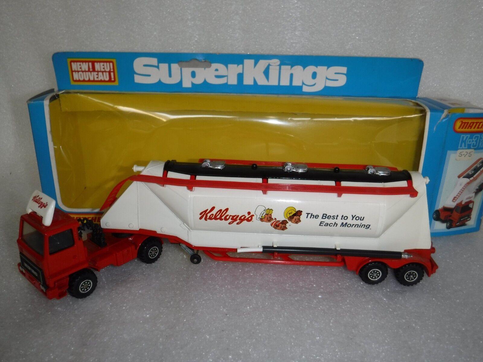 Vintage Matchbox Superkings K-3 KELLOGG'S céréales Transporteur Camion, En parfait état, dans sa boîte, RARE