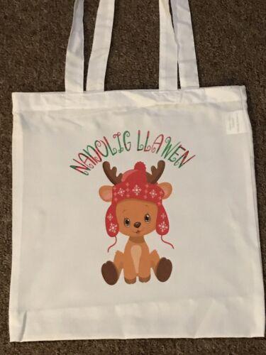Nadolig Lllawen Wales Christmas Tote Bag Baby Reindeer