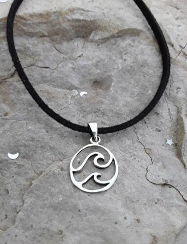 Nautique Bijoux végétalien Bijoux Petit Argent Sterling Wave collier pendentif