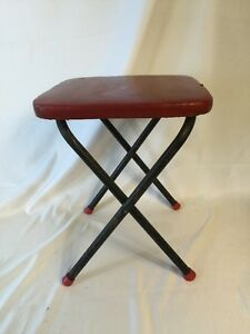 Vintage 1950s Folding Step Foot Stool Side Table Red