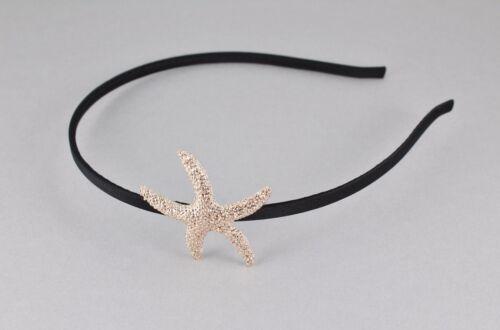 Rose Gold Starfish headband thin skinny headband hair band black sea star fish