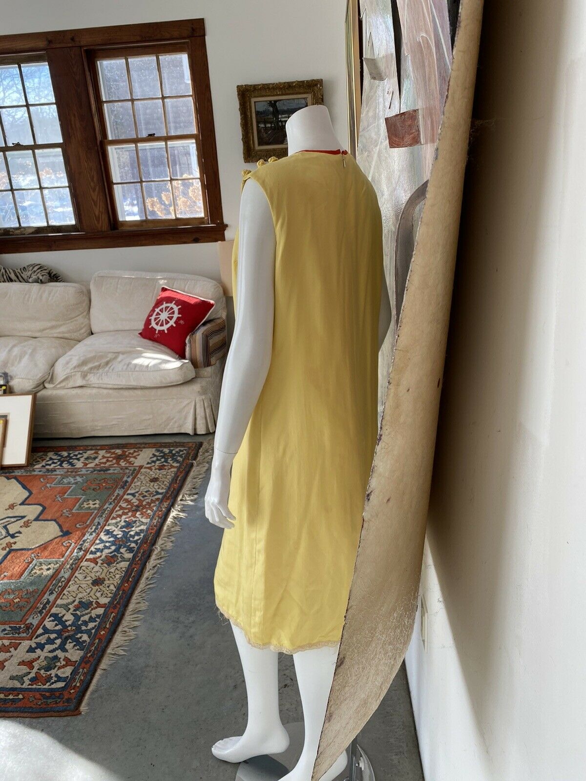 Vintage Alice John Rogers Yellow Silk Pussybow Sh… - image 10