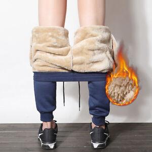 Mens-Winter-Fleece-Lined-Casual-Sweatpants-Trousers-Thick-Warm-Joggers-Pants-LVJ