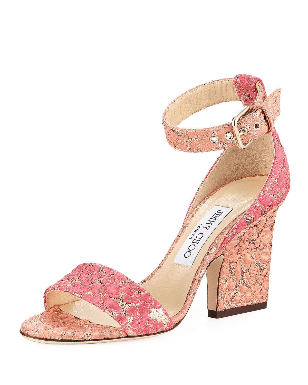 Jimmy Choo Edina Floral Sandals, Flamingo Calypso MSRP   695.00 Size 37