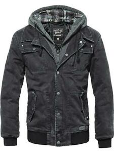 Brandit-Herren-Jacke-Dayton-Jeansjacke-Black-Denim-Sweat-Jacket