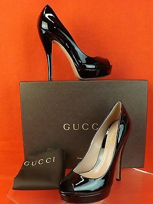 NIB GUCCI BLACK PATENT LEATHER LISBETH PEEP TOE PLATFORM PUMPS 40.5 10.5 $730