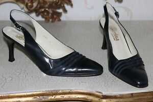 249ef32bacb Details about SORINA Navy Blue Genuine Leather Ladies High Heels Sling Back  Shoes size 8