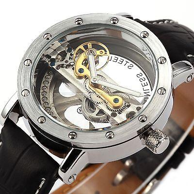 Steampunk Bridge Skeleton Self-Winding Mechanical Men's Watch Black Leather Gift