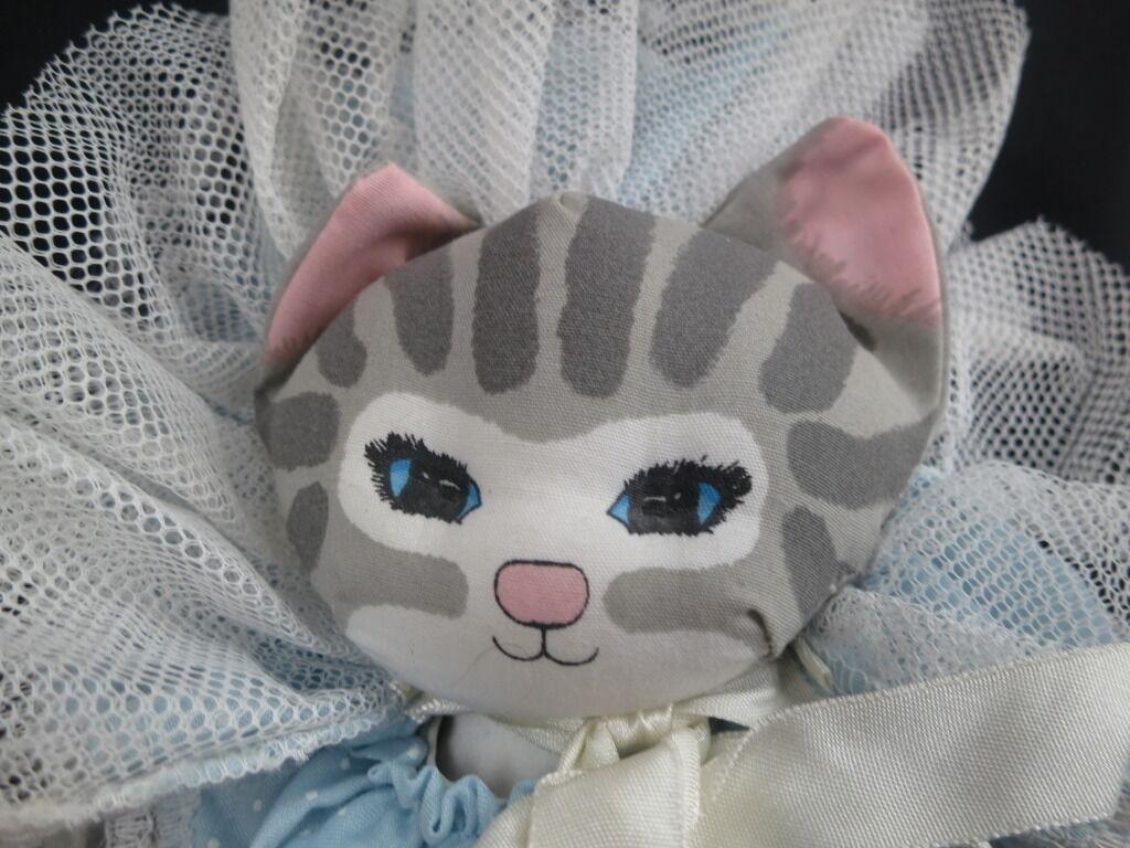 NEW VINTAGE 1988 APPLAUSE KITTY CAT DUSTY SHEAR Blau LACE DRESS grau PLUSH RARE