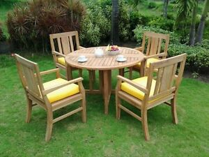 5-PC-OUTDOOR-DINING-TEAK-SET-48-034-BUTTERFLY-FOLDING-TABLE-amp-4-ARM-CHAIRS-OSBORN