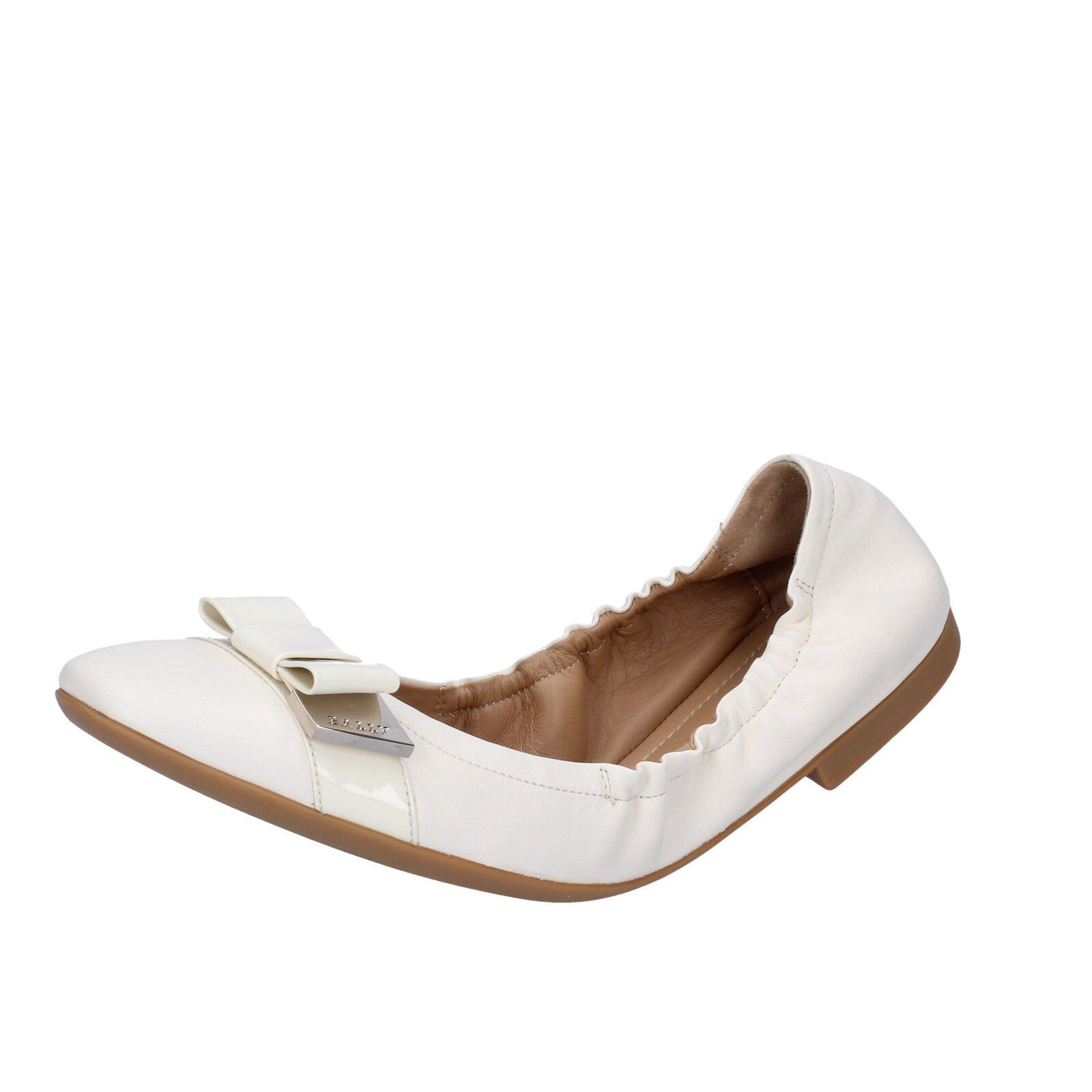 damen schuhe BALLY 3,5 (EU 36,5) flats Weiß leather BY39-B