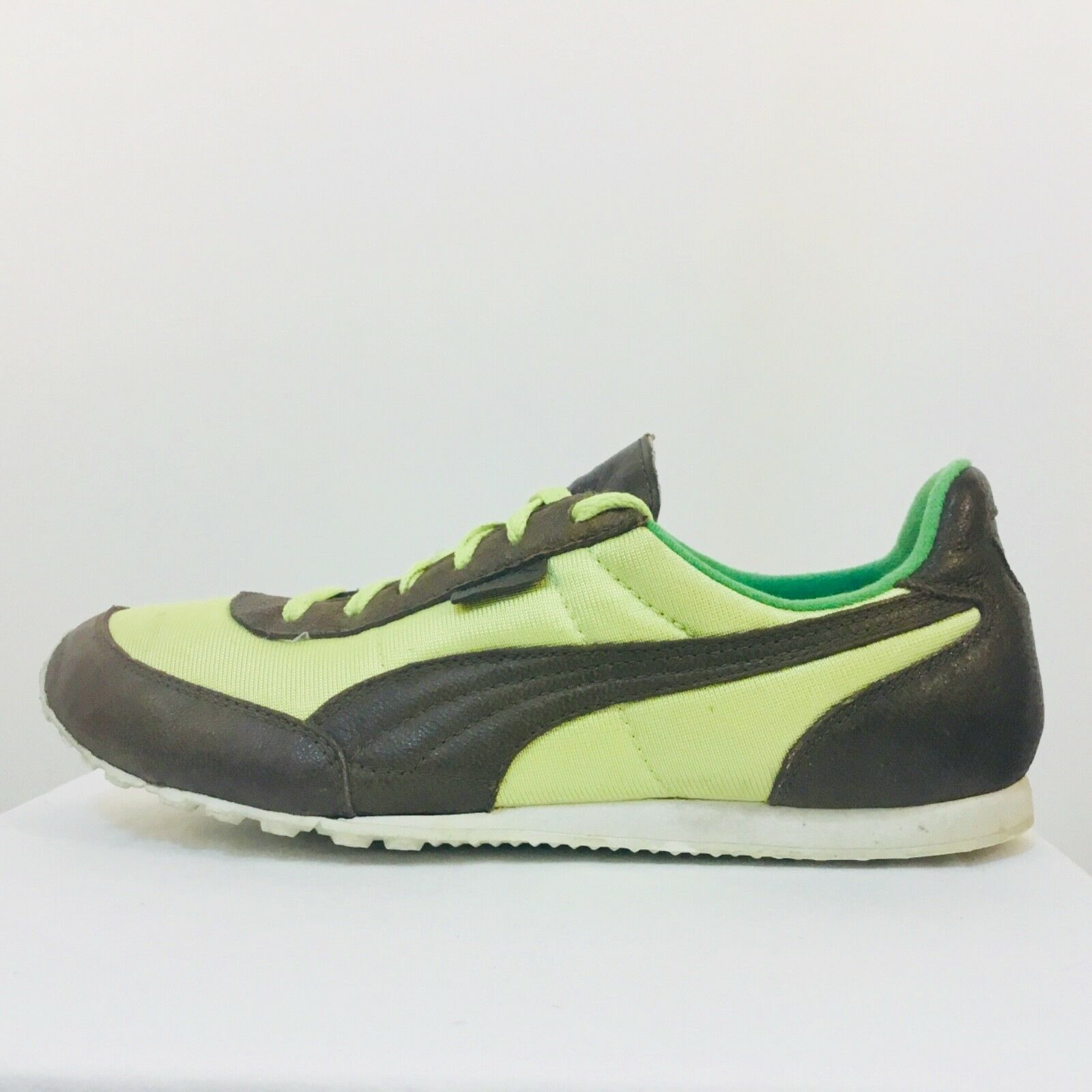 PUMA Brown Leather and Yellow 6.5 Neoprene Running Sneakers, size 6.5 Yellow 97011b
