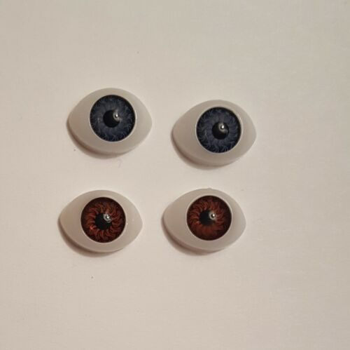 Oval Dolls Eyes..Perfect for BJD or Reborn dolls Acrylic in Blue or Brown 13mm