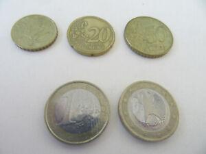 Five Euro Coins (Circulated-See Description & Photos)