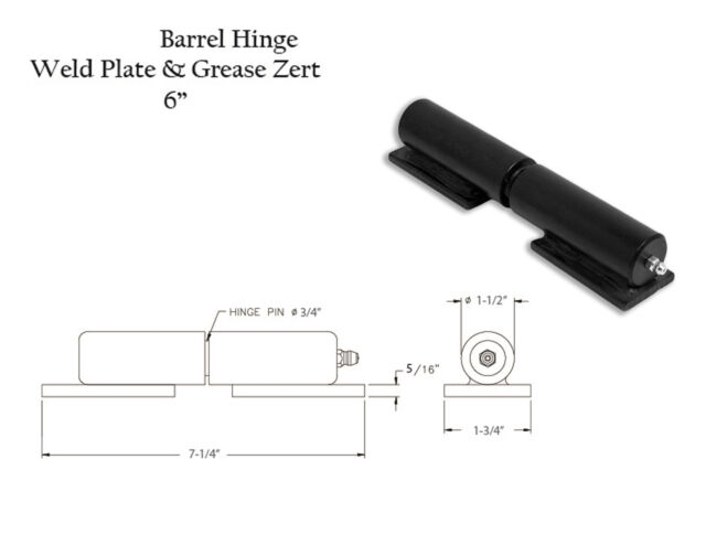 """ONE  6/"""" Barrel Hinge with Grease Zert and Weld Plate 49995"""