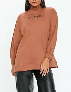 10 Nyc 38 Large 6 Nous Uk Pull Rouille Missguided camg146 Col Slogan Ue qwYxnP5