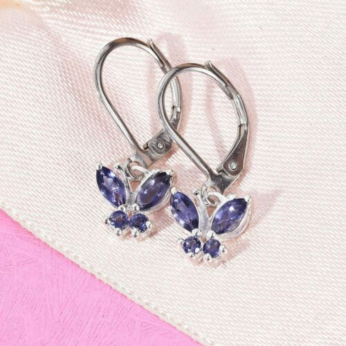 Details about  /NaturaI Iolite Butterfly Lever Back Earrings in Sterling Silver 0.65 ctw