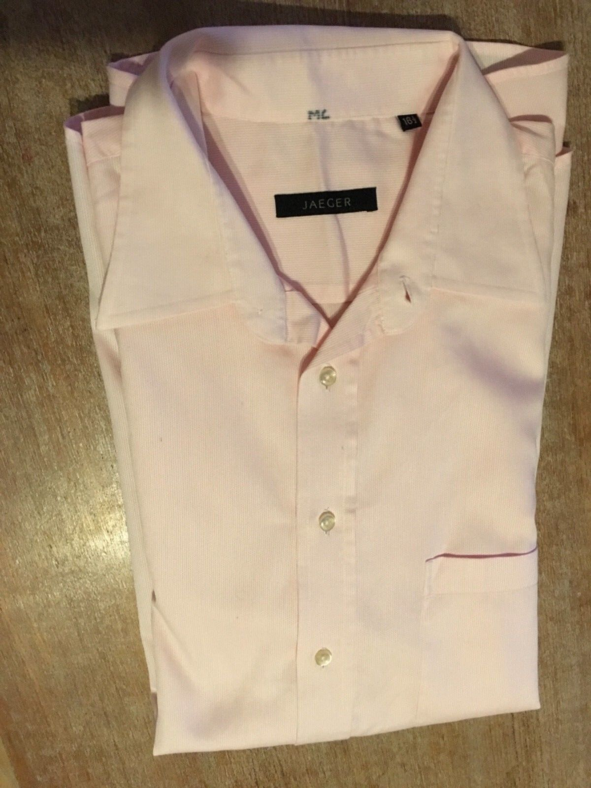 Mens Long Sleeved Shirt, Jaeger, Pale Pink, Classic Style, 16.5inch