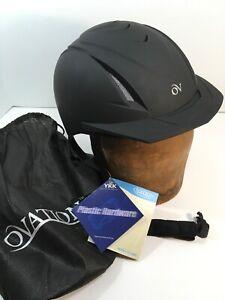 Ovation-Deluxe-Schooler-Z6-Horse-Riding-Helmet-Black-Silver-Vent-M-L-Dial-Adjust
