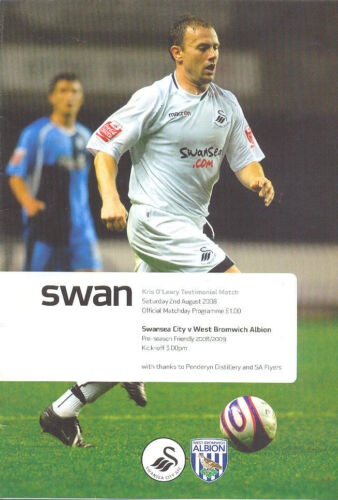 Swansea City v West Bromwich Albion 2 Aug 2008 FOOTBALL PROGRAMME