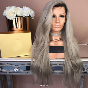 100-Real-Human-Hair-Wig-Brazilian-Ombre-Grey-Straight-Remy-Full-Lace-Front-Wigs