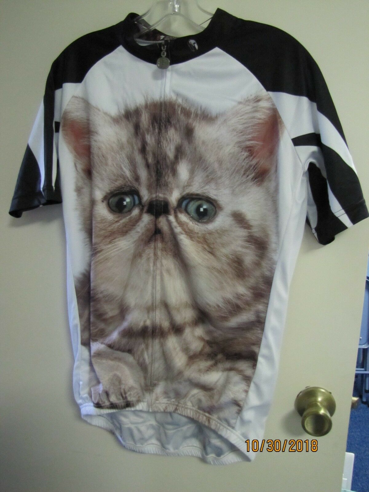 EUC Paladin Men's White Cat Kitty Cycling Jersey Short Sleeve Bike Shirt Poly L