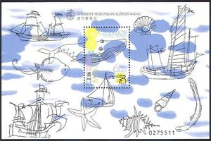 Macau-1999-Ships-Whales-Fish-Shells-Marine-Nature-StampEx-1v-m-s-b3040