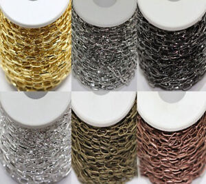 1-10M-Silver-Gold-Plated-Metal-Cross-Open-Link-Chain-Jewelry-Findings-DIY-10x5MM