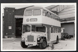 Postcard-Size-Transport-Real-Photograph-School-Bus-In-Depot-IOW-BH5939