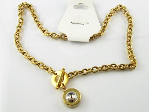 Massiv Edelstahl Collier Halskette Gold Vergoldet Kristall Solitär Kette Unisex