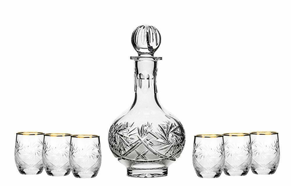 Set of 7 16-Oz Vintage Cut Crystal Liquor Decanter Set with 6 Shot Glasses (6)