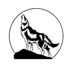2 x heulender Wolf  Mond  Aufkleber  Decal Sticker Decals 12 x 12 cm
