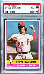 STEVE-CARLTON-1976-Topps-355-PSA-8-NM-MT-Philadelphia-Phillies-HOF