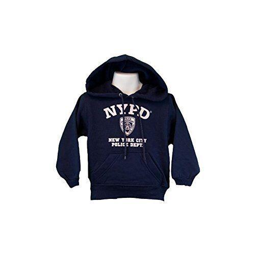 10-12 Medium NYPD Kids Hoodie White Print Sweatshirt Navy