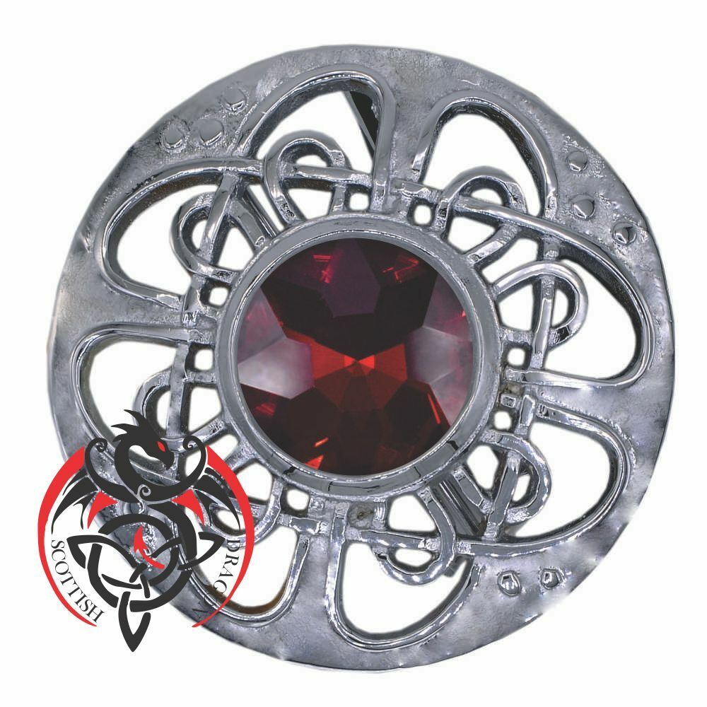 Scottish Kilt Fly Plaid Brooch Red Stone Silver Finish Celtic Pin & Brooches 3