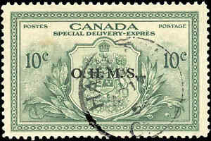 Stamp-Canada-Used-1950-VF-10c-Overprinted-OHMS-Scott-EO1-Special-Delivery-Stamp