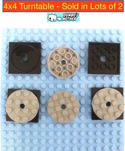2 Lego 4 X 4 Black Turntable Turnable Spinner