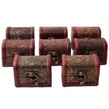 Wooden Vintage Lock Jewelry Treasure Chest Holder Case Handmade Small Box Gift