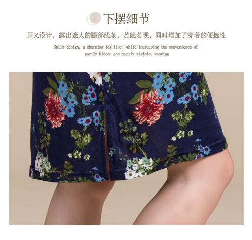 Details about  /New Silk Cheongsam Dress Womens Short Sleeved Mandarin Collar Silk Knitted Pr...