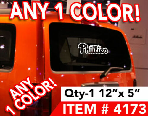 """PHILLIES REAR WINDOW DECAL STICKER 12x5/"""" Any Color"""