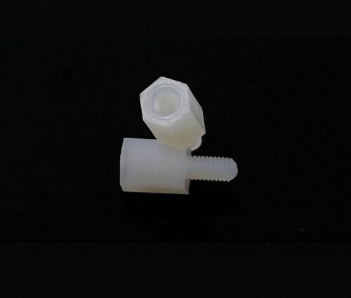 50pcs M3 x 12mm-6mm Nylon Hexagonal Female and Male Standoff Spacer HTS-312