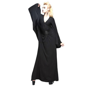 Black-Gothic-Long-Fishtail-Batwing-Morticia-Witch-Pagan-Halloween-Dress