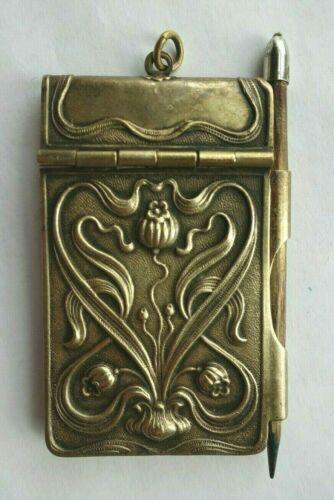 Antique Art Nouveau Chatelaine Brass Notebook and