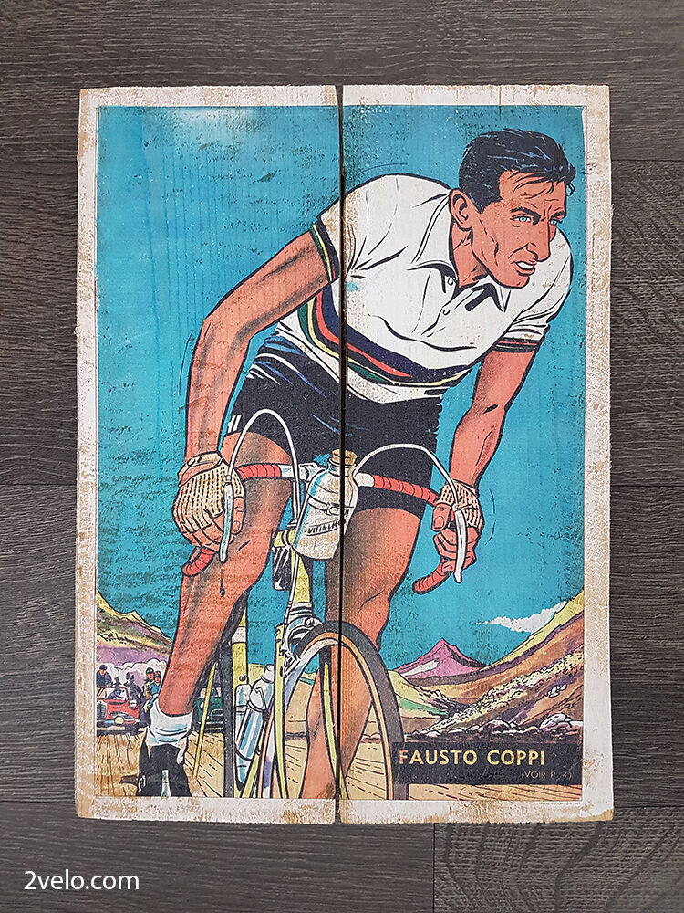 Cycling wood print, vintage style poster, retro bicycle ads