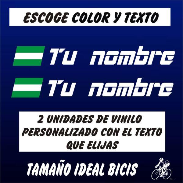 100% Vero 2 Pegatinas Personalizables Bandera De Andalucia Con Nombre Vinilo Bici Bike