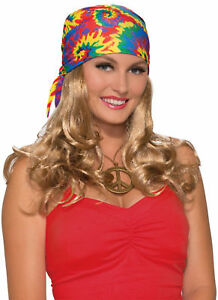 Image Is Loading Generation Hippie Head Scarf With Attached Wig